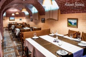 Interior Georgian cuisine restaurant, a long hall